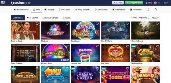 casinoeuro games assortment